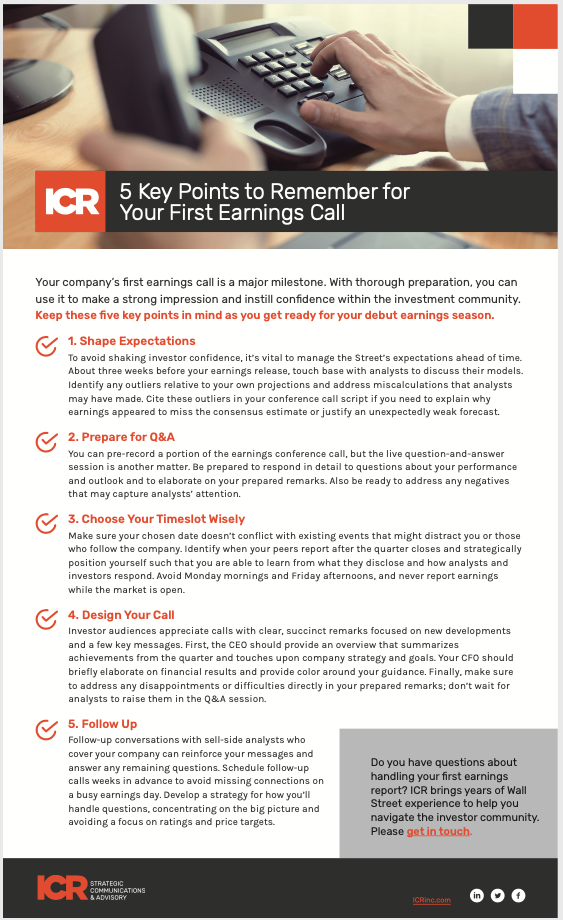 First Earnings Call Checklist