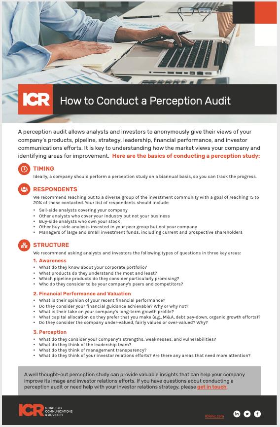 ICR Perception Audit Checklist