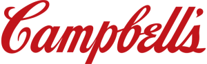 corporate logo in red script font