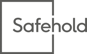 corporate logo in gray showing font and a thin box to the left